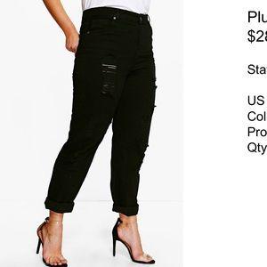 Boohoo plus black mom jeans